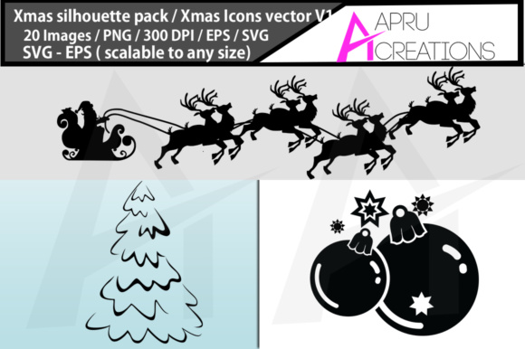 Download Free X Mas Svg Silhouettes Graphic By Aparnastjp Creative Fabrica for Cricut Explore, Silhouette and other cutting machines.