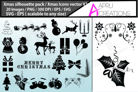 Print on Demand: X Mas Silhouettes Graphic Crafts By aparnastjp