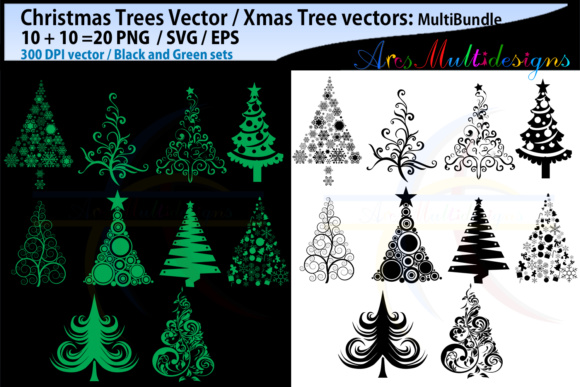 X Mas Tree Svg, Christmas Tree Svg Silhouette Graphic By Arcs Multidesigns