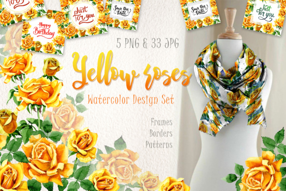 Print on Demand: Yellow Roses Watercolor Set Graphic Illustrations By MyStocks