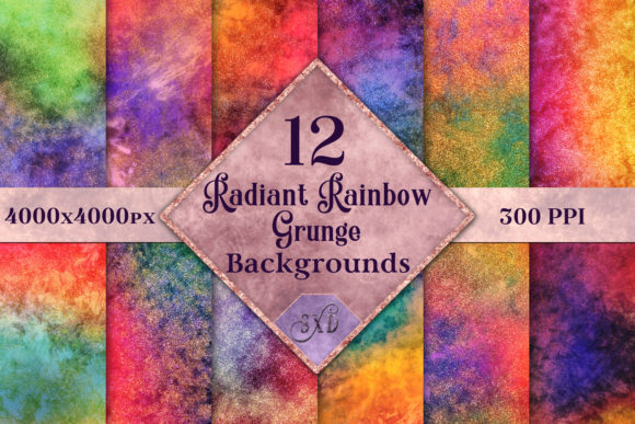 Print on Demand: Radiant Rainbow Grunge Backgrounds - 12 Image Set Graphic Backgrounds By SapphireXDesigns
