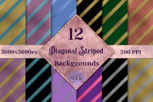 Diagonal Striped Backgrounds - 12 Image Set Graphic By SapphireXDesigns