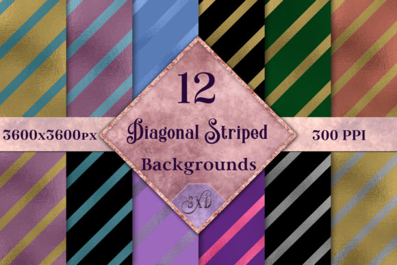 Print on Demand: Diagonal Striped Backgrounds - 12 Image Set Graphic Backgrounds By SapphireXDesigns - Image 1