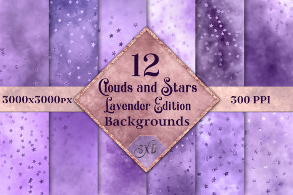 Print on Demand: Clouds and Stars Lavender Edition Backgrounds - 12 Images Graphic Backgrounds By SapphireXDesigns