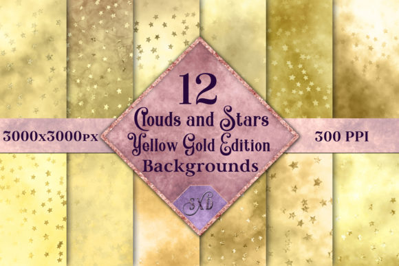 Print on Demand: Clouds and Stars Yellow Gold Edition Backgrounds - 12 Images Graphic Backgrounds By SapphireXDesigns