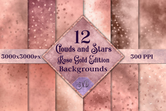Print on Demand: Clouds and Stars Rose Gold Edition Backgrounds - 12 Images Graphic Backgrounds By SapphireXDesigns