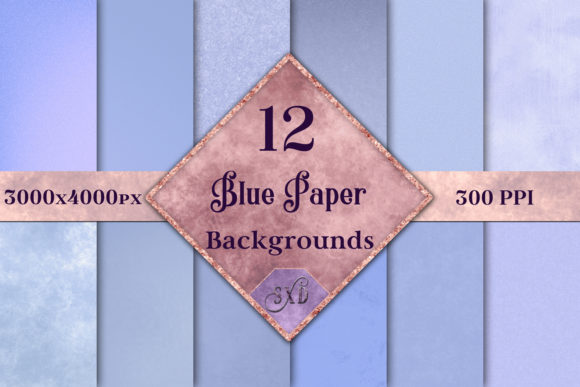 Print on Demand: Blue Paper Backgrounds - 12 Image Set Graphic Backgrounds By SapphireXDesigns - Image 1