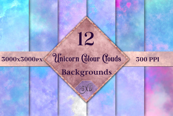 Print on Demand: Unicorn Color Clouds Backgrounds - 12 Image Set Graphic Backgrounds By SapphireXDesigns