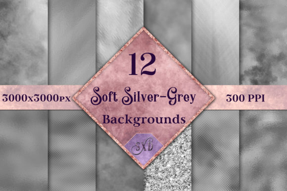 Soft Silver-Grey Backgrounds - 12 Image Set Graphic By SapphireXDesigns