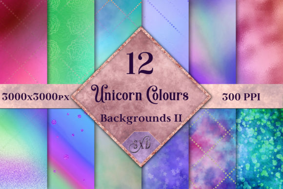 Print on Demand: Unicorn Colours Backgrounds II - 12 Image Set Graphic Backgrounds By SapphireXDesigns