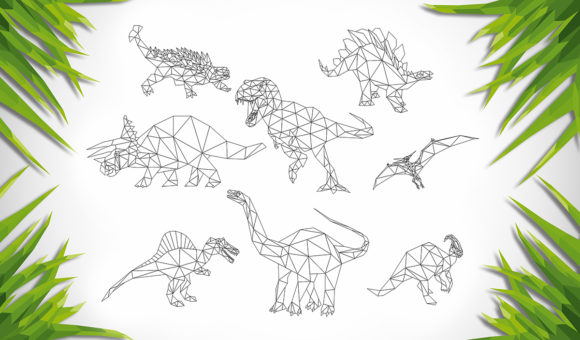 Download Free Set Of 8 Low Poly Dinosaurs Graphic By Vector City Skyline for Cricut Explore, Silhouette and other cutting machines.