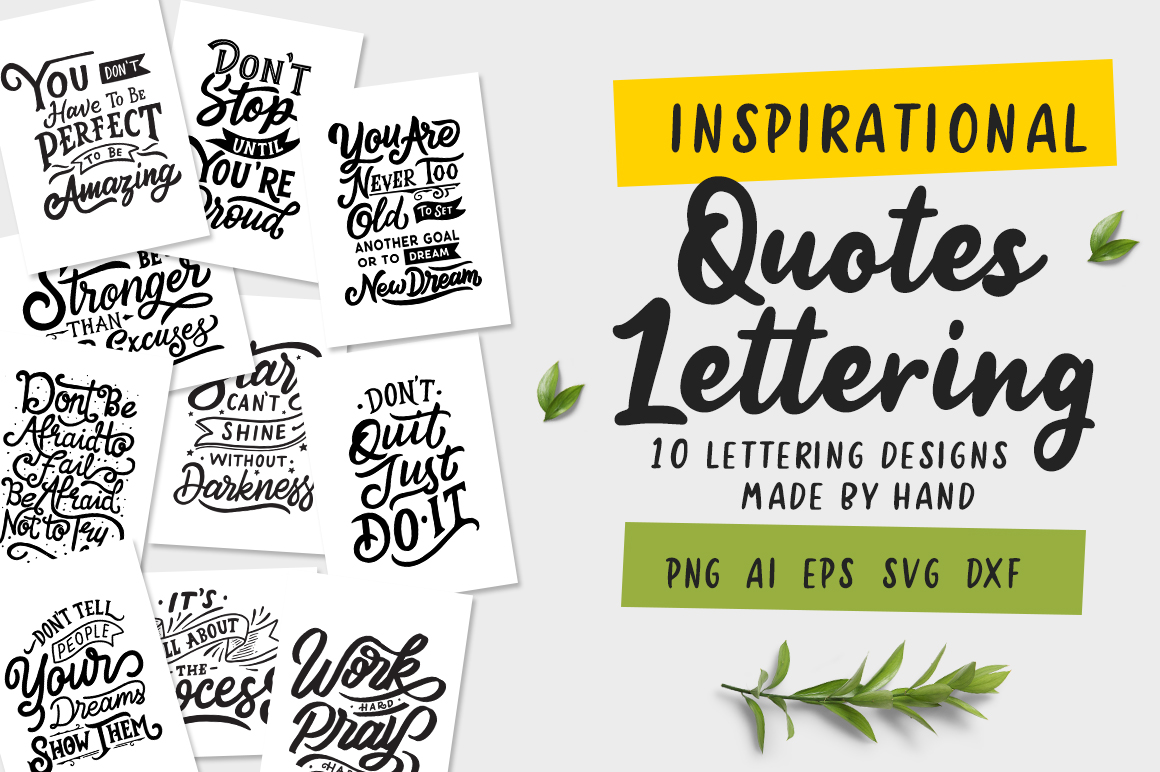 Download Free Inspirational Quotes Lettering Graphic By Weape Design SVG Cut Files