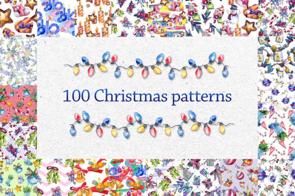 Print on Demand: 100 Patterns of Christmas JPG Watercolor Set Graphic Patterns By MyStocks