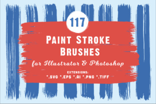 117 Paint Stroke Brushes for Illustrator & Photoshop Graphic Brushes By Textures