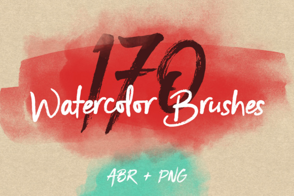 170 Watercolor Brushes Pack for Photoshop Grafik Pinselstriche von Yurlick