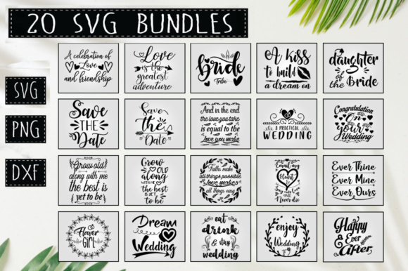 Print on Demand: Wedding Quotes Bundle Graphic Crafts By DesignFarm