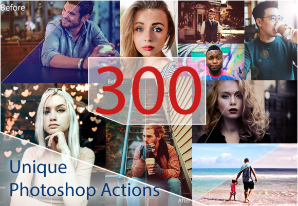 300 Unique Photoshop Actions Graphic By Eldamar Studio Image 1