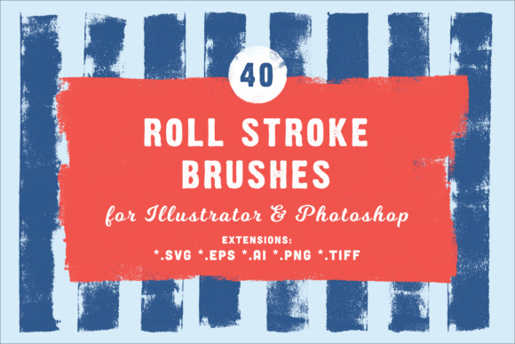 40 Roll Stroke Brushes for Illustrator & Photoshop Graphic Brushes By Textures