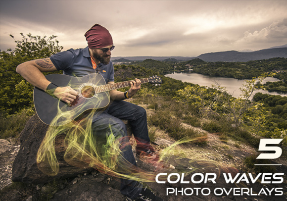 Print on Demand: 5 Color Waves Photo Overlays Graphic Layer Styles By Eldamar Studio