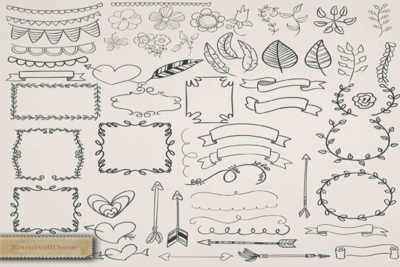 Print on Demand: 57 Digital Vector Doodles and Elements Graphic Illustrations By retrowalldecor
