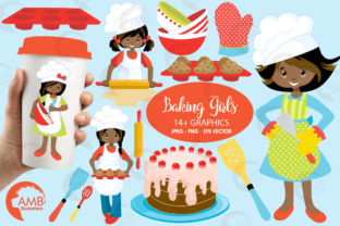 Download Free Aa Baking Girls Clipart Graphic By Ambillustrations Creative for Cricut Explore, Silhouette and other cutting machines.