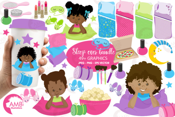 Aa Girls Slumber Clipart Graphic Illustrations By AMBillustrations