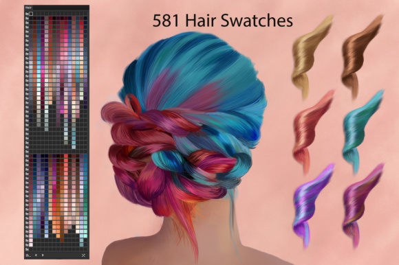 Adobe Illustrator Hair Swatches for Digital Painting