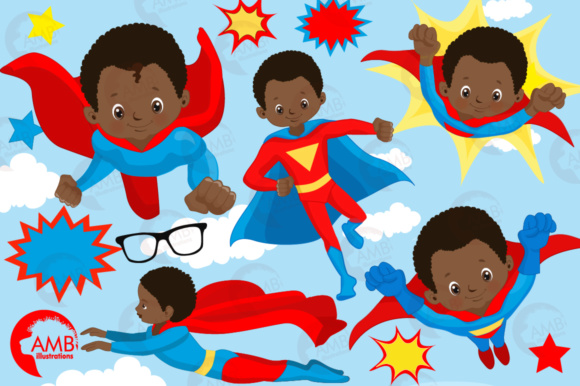 Download Free African American Superhero Boys Graphic By Ambillustrations for Cricut Explore, Silhouette and other cutting machines.