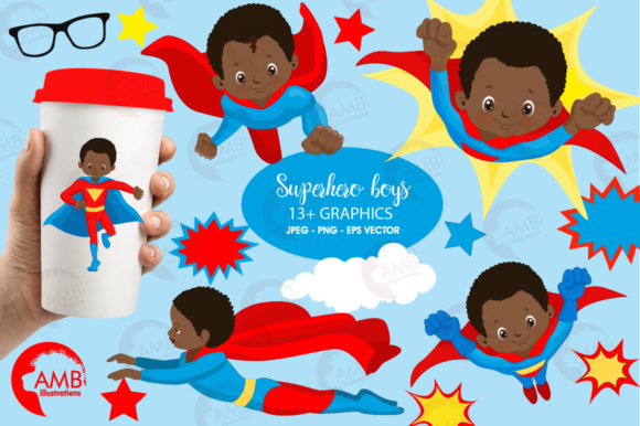 African American Superhero Boys Graphic Illustrations By AMBillustrations