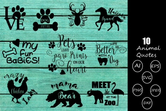Print on Demand: Animal Quotes Bundle Graphic Crafts By Crafty Yamini