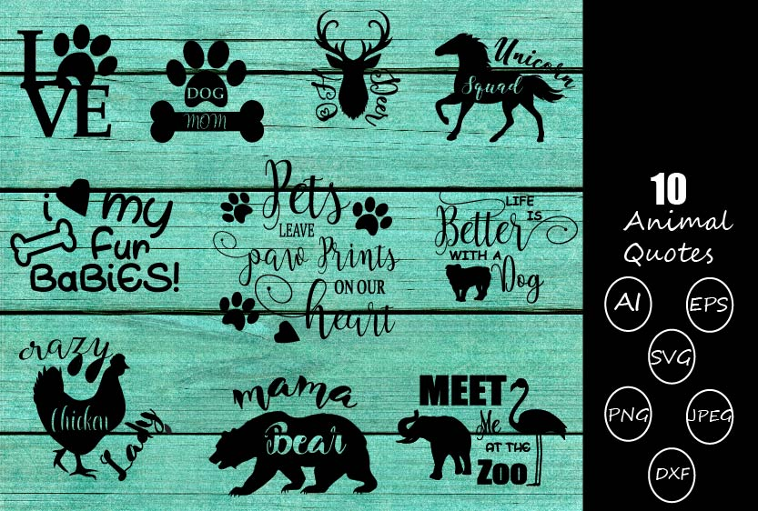 Download Free Animal Quotes Bundle Graphic By Design Haul Creative Fabrica for Cricut Explore, Silhouette and other cutting machines.