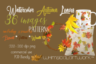 Autumn Leaves Watercolor Collection Graphic Illustrations By WhimsicalArtwork™