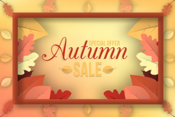 Print on Demand: Autumn Sale Banner Design with Discount Label in Colorful Autumn Leaves Background Graphic Graphic Templates By yahyaanasatokillah