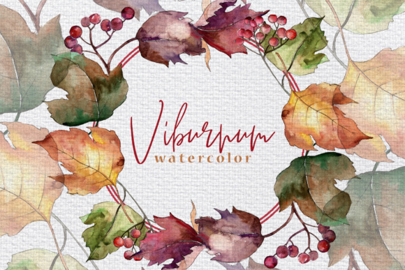 Print on Demand: Autumn Viburnum Leaves PNG Watercolor Set Graphic Illustrations By MyStocks