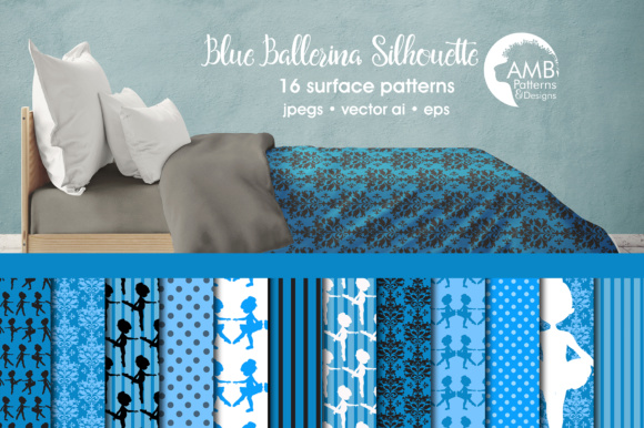 BLue Ballerina Silhouette Papers AMB Graphic Patterns By AMBillustrations