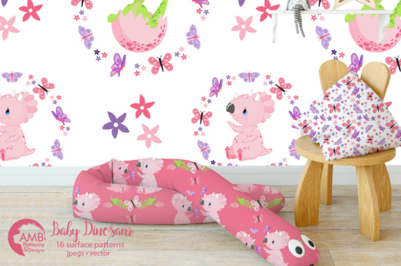 Download Free Baby Girl Dinosaur Papers Graphic By Ambillustrations Creative for Cricut Explore, Silhouette and other cutting machines.