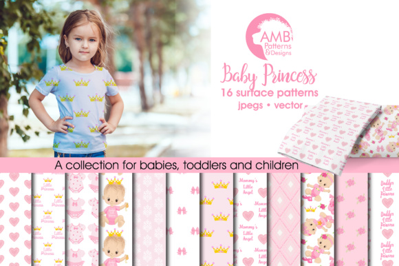 Baby Girl Papers Graphic Patterns By AMBillustrations