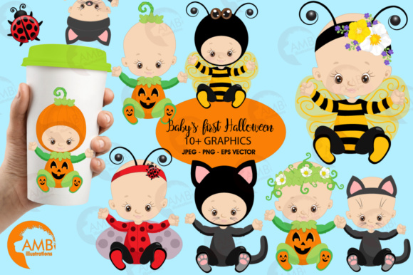 Download Free Baby Halloween Clipart Amb 2265 Graphic By Ambillustrations for Cricut Explore, Silhouette and other cutting machines.