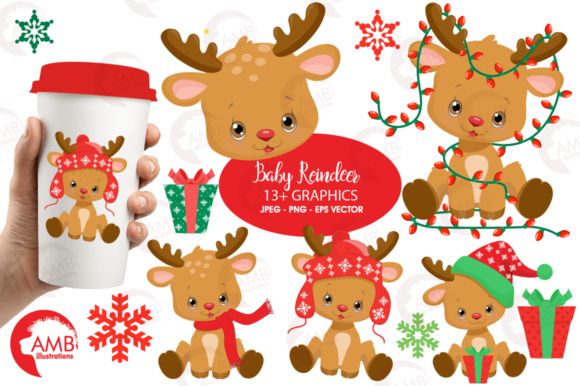 Baby Reindeer Clipart Graphic Illustrations By AMBillustrations