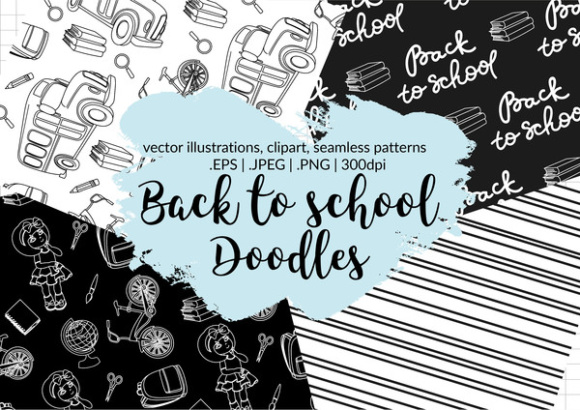 Back to School Doodles Vector Illustrations Clipart & Seamless Pattern Graphic Illustrations By FARAWAYKINGDOM