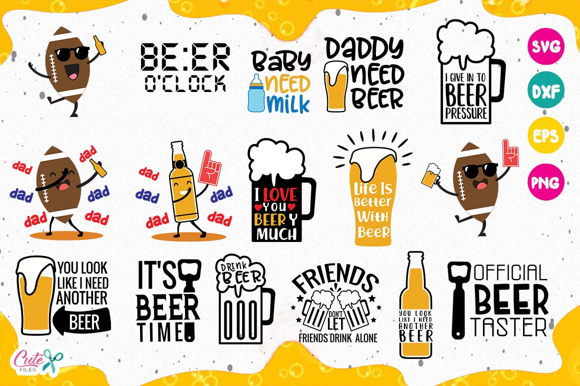 Download Free Funny Beer Quotes Bundle Graphic By Cute Files Creative Fabrica for Cricut Explore, Silhouette and other cutting machines.