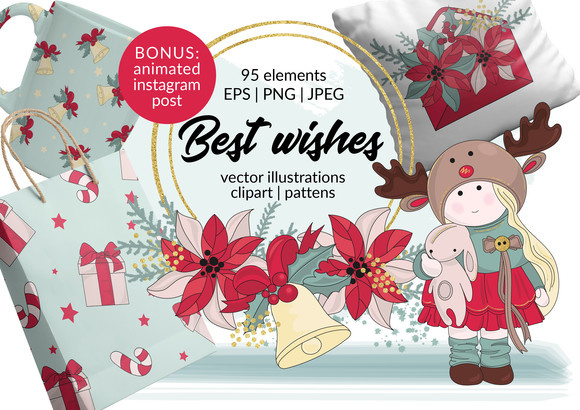 Best Wishes Christmas Clipart Vector Illustration Pattern Animation Graphic Illustrations By FARAWAYKINGDOM
