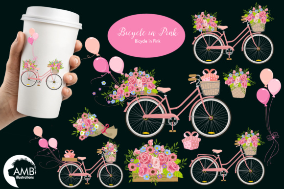Bicycle Floral Clipart Graphic Illustrations By AMBillustrations