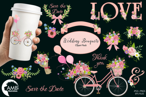 Bicycle Florals Graphic Illustrations By AMBillustrations