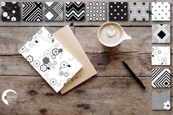 Black and White Geometric Papers Graphic Patterns By AMBillustrations - Image 2
