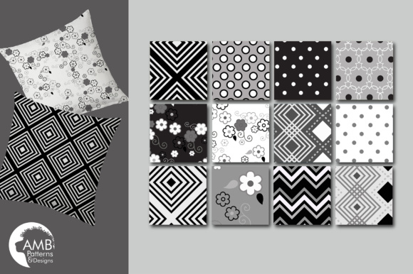 Black and White Geometric Papers Graphic Patterns By AMBillustrations - Image 3