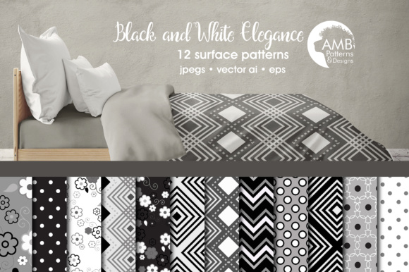 Black and White Geometric Papers Graphic Patterns By AMBillustrations - Image 1
