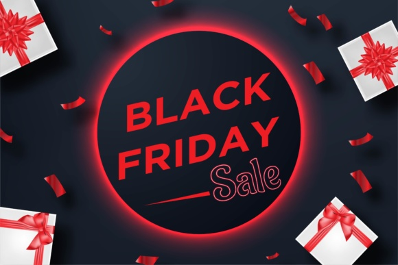 Print on Demand: Black Friday Sale Banner with Gift Box and Confetti Template. Graphic Graphic Templates By yahyaanasatokillah - Image 1