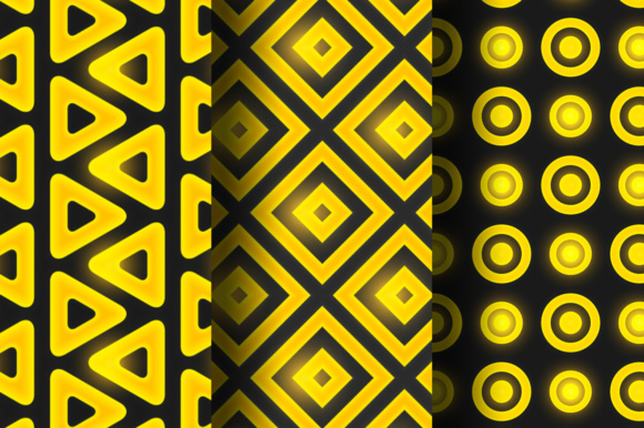 Black-gold Geometric Seamless Patterns Graphic By Yurlick Image 3