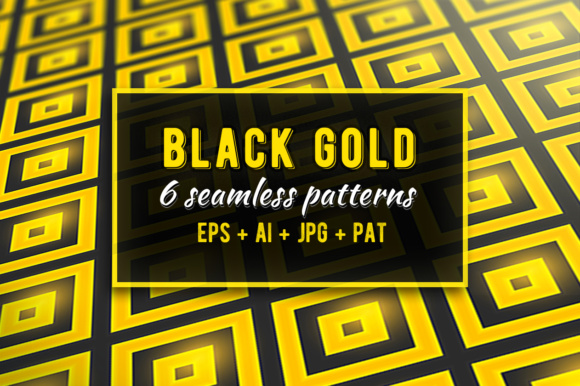 Black-gold Geometric Seamless Patterns Graphic Patterns By Yurlick - Image 1